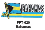 2.5cm - 1.3cm X 10cm - 1.3cm Flag Embroidered Patch Bahamas