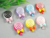 21pcs Resin Flatback Lollipop Tie Button Scrapbooking DIY Craft Applique
