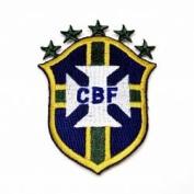 Brasil CBF Brazil Fifa World Cup Soccer Iron on Patch Crest Badge ... 8.3cm X 6.4cm .. New