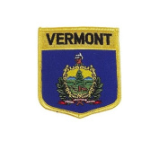 Vermont USA State Shield Flag Iron on Patch Crest Badge .. 7.6cm X 8.9cm ... New