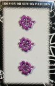Hibiscus Trio Set Flower Embroidered Iron On Patch Purple