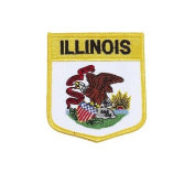 Illinois USA State Shield Flag Iron on Patch Crest Badge .. 7.6cm X 8.9cm ... New