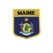 Maine USA State Shield Flag Iron on Patch Crest Badge .. 7.6cm X 8.9cm ... New