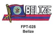 2.5cm - 1.3cm X 10cm - 1.3cm Flag Embroidered Patch Belize