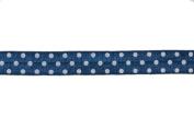 5 Yards of 1.6cm Navy/white Polka Dots Print Fold Over Elastic