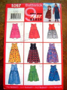 BUTTERICK 5167 9 SEW FAST & EASY SIZE 2-3-4-5 CHILDRENS/GIRLS JUMPER RATED VERY EASY UNCUT SEWING PATTERN