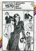 Stretch & Sew Pattern 1570 ~ Ladies' Shirtwaist Dress and Blouse