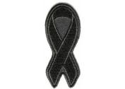 BLACK 7.6cm RIBBON Mourning In Memorial Melonoma NEW Awareness Biker Patch PAT-2912