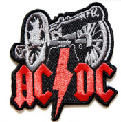 AC/DC ACDC FOR THOSE ABOUT TO ROCK Heavy Metal Rock Punk Music Band Logo Polo T shirt Patch Sew Iron on Embroidered Badge Sign Costum
