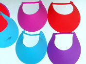 ~ 12 ~ Foam Visors with Coil Bands ~ Assorted Colours ~ New ~ Sun Hat, Craft Foam,