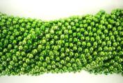 33 inch 7mm Round Metallic Lime Green Mardi Gras Beads - 6 Dozen
