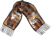Laurel Burch Moroccan Mares Silk Scarf with Fringe 130cm X 28cm .