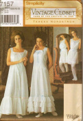 Simplicity 7157 Misses Historical Undergarments Pattern Size 6-12, Slip, Night Gown, Camisole with Bloomers.