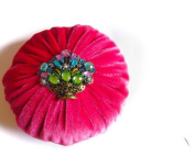 XL Hot Pink Velvet Emery Pincushions - Keep your Needles Clean & Sharp