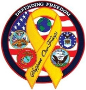"""""""Defending Freedom"""" Yellow Ribbon Large Back Patch"""