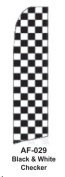 HPP 11-1/2' X 2-1/2' Brand New Advertising Tall Flag- Black & White Checker