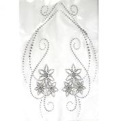 Rhinestone Iron on Transfer Hot Fix Motif Crystal Fashion Design Love Flowers Clear 3 Sheets 9.4*48cm