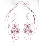 Rhinestone Iron on Transfer Hot Fix Motif Crystal Fashion Design Love Flowers Pink 3 Sheets 9.4*48cm