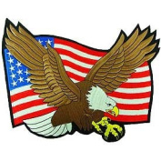 Flying Bold Eagle with American Flag 25cm Patch