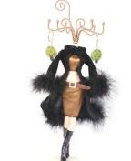 Mannequin Jewellery Stand - black coat woman model, baking vanish iron rack