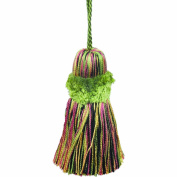 39cm Pillow Tassel with a 27cm Cord, Black/Green and Gold