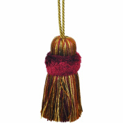 39cm Pillow Tassel with a 27cm Cord, Burgundy and Gold
