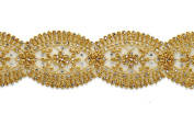 Rhinestone Metallic Gold Lace Trim, Crafts and Sewing, 4.4cm by 1 Yard, LP-1196ST