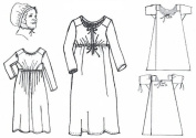 1810 to 1820 Front Closing Dress Set for a Working Class Woman Pattern