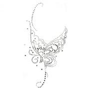 Rhinestone Transfer Hot Fix Motif Fashion Design Silver Butterfly Tattoos Deco 3 Sheets 5.5*28cm