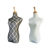 NAVA New 2Pcs Black And White Lace Vintage Mannequin Cover Model Dummy Top Cover Vintage Cloth Top