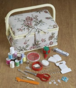 Home-X Tapestry Sewing Basket with Accessories