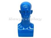 (MD-EraBlue) Roxy Display Glossy Blue Male Mannequin Head