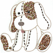 Rhinestone Iron on Transfer Hot Fix Motif Fashion Design Cute Puppy Love Brown 3 Sheets 7*18cm