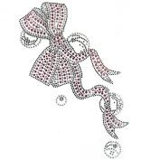Rhinestone Transfer Hot Fix T-shirt Clothing Crafts Cushion Pink Ribbon Deco Design 3 Sheets 7.4* 26cm