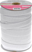 Stretchrite 1.9cm by 45-Yard White Ribbed Non-Roll Woven Polyester Elastic Spool