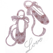 Rhinestone Iron on Transfer Hot Fix Motif Ballet Shoes Pink Fashion Design 3 Sheets 7.6*21cm
