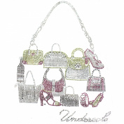Rhinestone Iron on Transfer Hot Fix Motif Shopping Bags Fashion Design 3 Sheets 7.2*25cm