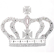 Rhinestone Iron on Transfer Hot Fix Motif Large Crown Crystal Design 3 Sheets 9* 18cm