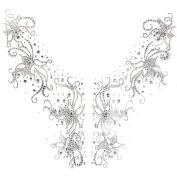 Rhinestone Hot Fix Motif Crystal Fashion Design Flowers V Line Home Decor 3 Sheets 11.8*27cm