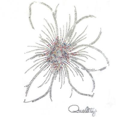 Rhinestone Transfer Hot Fix Motif Fashion Design Jewellery Crystal Flower Mix 3 Sheets 9.8*30cm