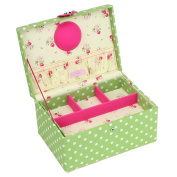Button It - Medium Green Polka Dot Sewing Box with Floral Lining