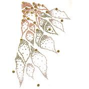 Rhinestone Iron on Transfer Hot Fix Motif Crystal Fashion Design Gold Line 3 Sheets 9* 39cm