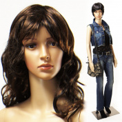 Realistic Standing Female Adult Mannequin + Base + 2 Free Wigs