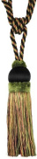 Single Tassel Tieback with 20cm Tassel and 80cm Spread, Black/Green and Gold