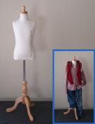 Kids 7-8 Years Child Jersey Mannequin Dress Form - Boy or Girl - White with Natural Tripod Base