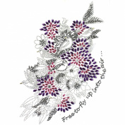Rhinestone Iron on Transfer Hot Fix Motif Crystal Flower Wings Design 3 Sheets 6.2*27cm