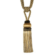 Single Tassel Tieback with 20cm Tassel and 80cm Spread, Beige and Taupe