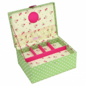 Button It - Large Green Polka Dot Sewing Box with Floral Lining