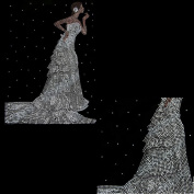 Rhinestone Iron on Transfer Hot Fix Motif Crystal Wedding Bride Fashion Design 3 Sheets 8.6*30cm