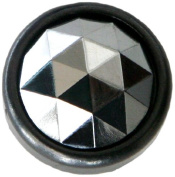 Diamond Head Upholstery Tack Crystal Stone, Silver Diamond, 20mm in Black Setting